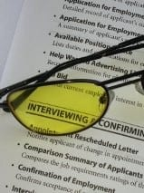 An interview sheet with the words interviewing highlighted