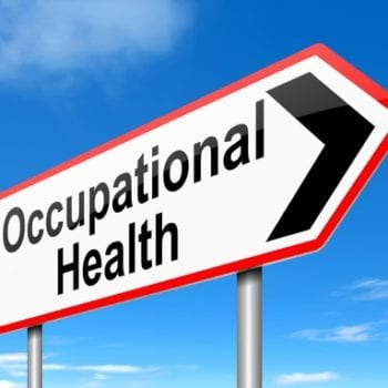 Road sign with occupational health and an arrow