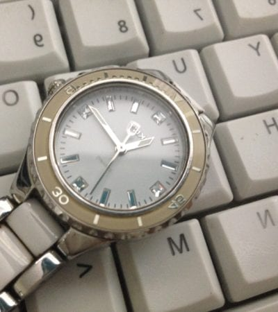 A watch set on the keyboard