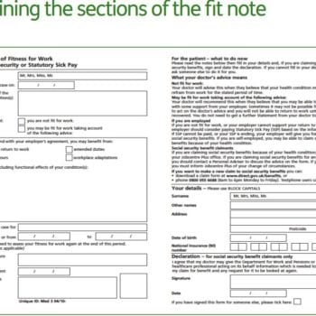 Full image of a blank fitnote with notes on how to fill in