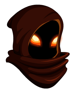 A hooded man with fire glow eye slits